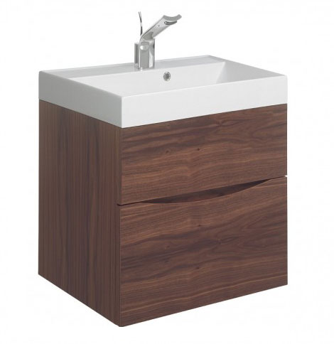 Bauhaus - Glide II Vanity Unit and Basin - American Walnut - 3 size options Large Image