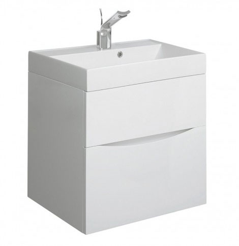 Crosswater - Glide II Vanity Unit and Basin - White Gloss - 3 size options