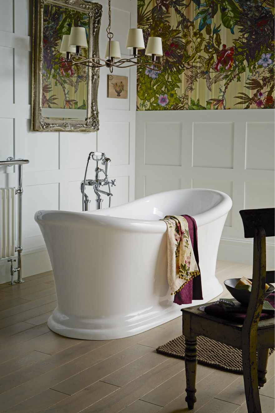 Floral prints complement this traditional bathroom setting