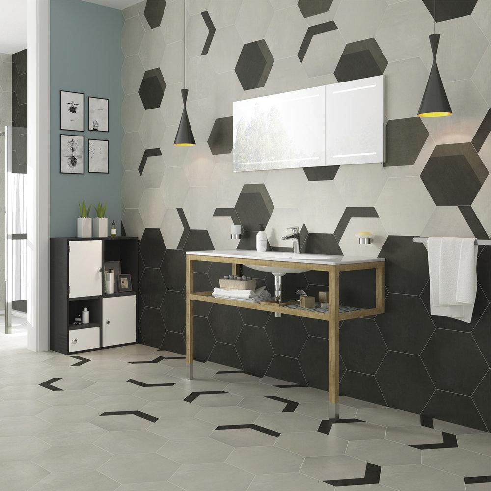 Vista Hexagon Dark Grey Wall Tiles - 30 x 38cm  Feature Large Image
