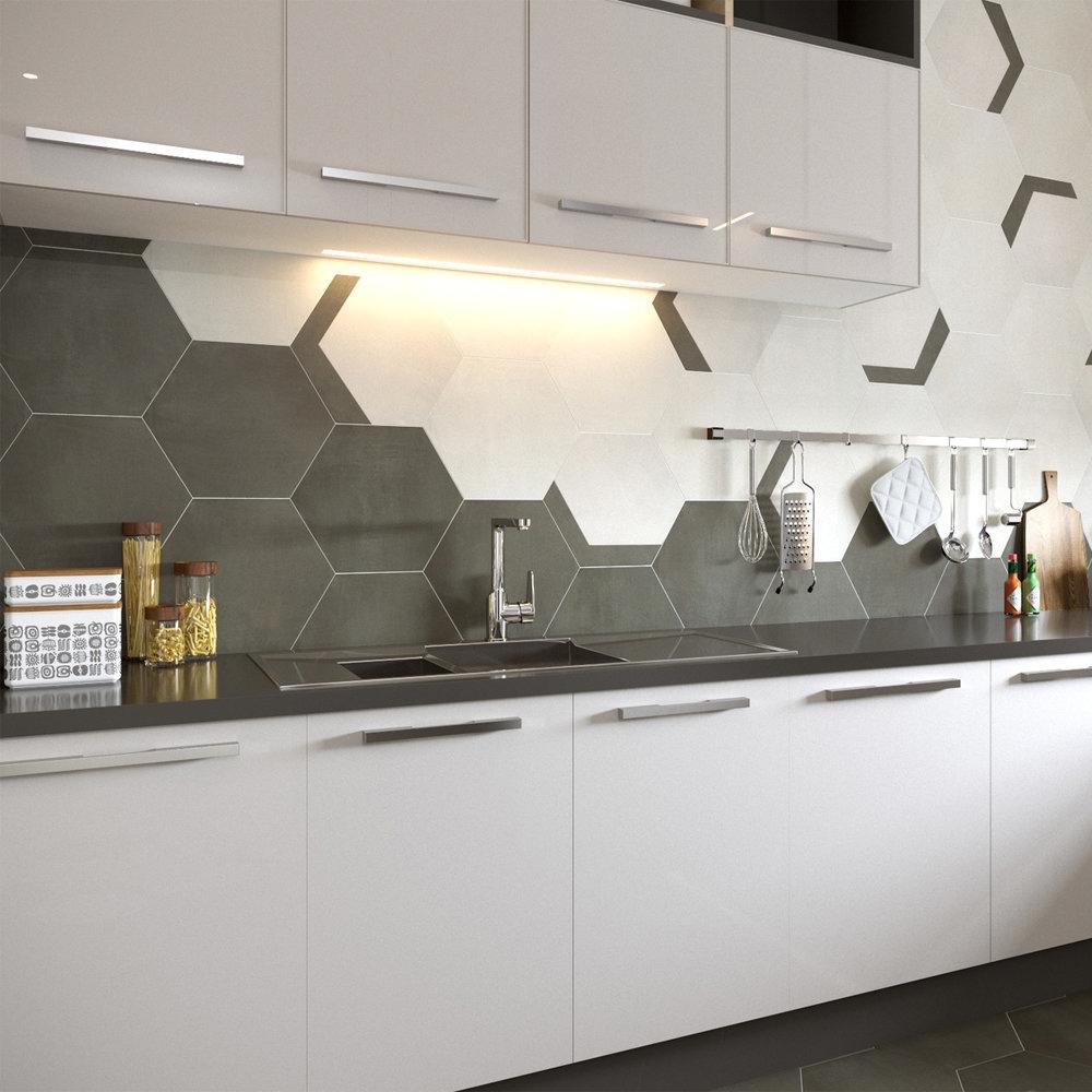Vista Hexagon Dark Grey Wall Tiles - 30 x 38cm  Standard Large Image