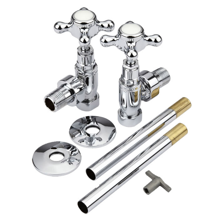 Hudson Reed Traditional Chrome Cross Head Radiator Valves - Angled - HT300 profile large image view 2