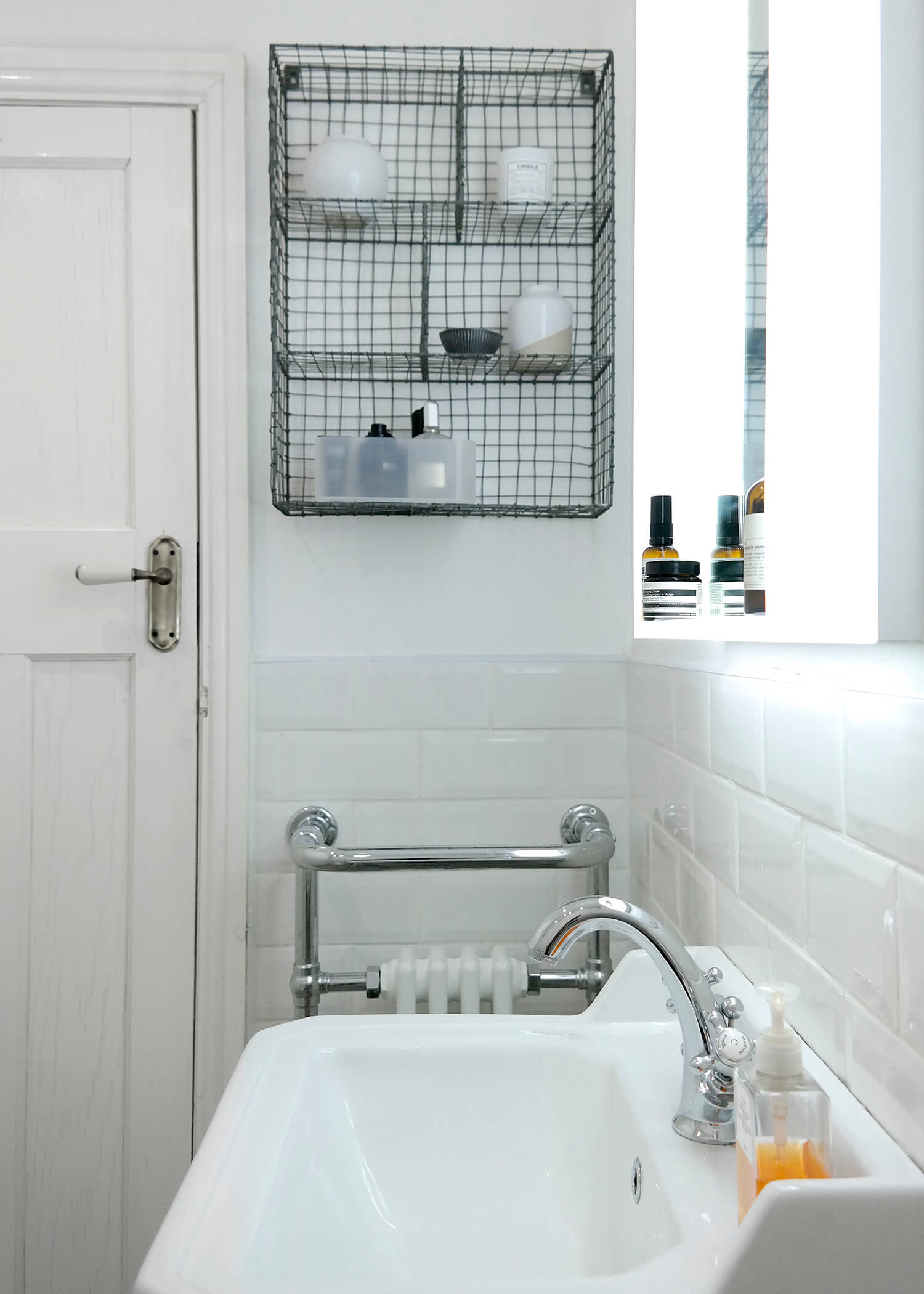 Joe's Illuminated Bathroom Mirror & Wire Locker Room Shelf | Joe's Scandi-Style Vintage Bathroom - Birmingham