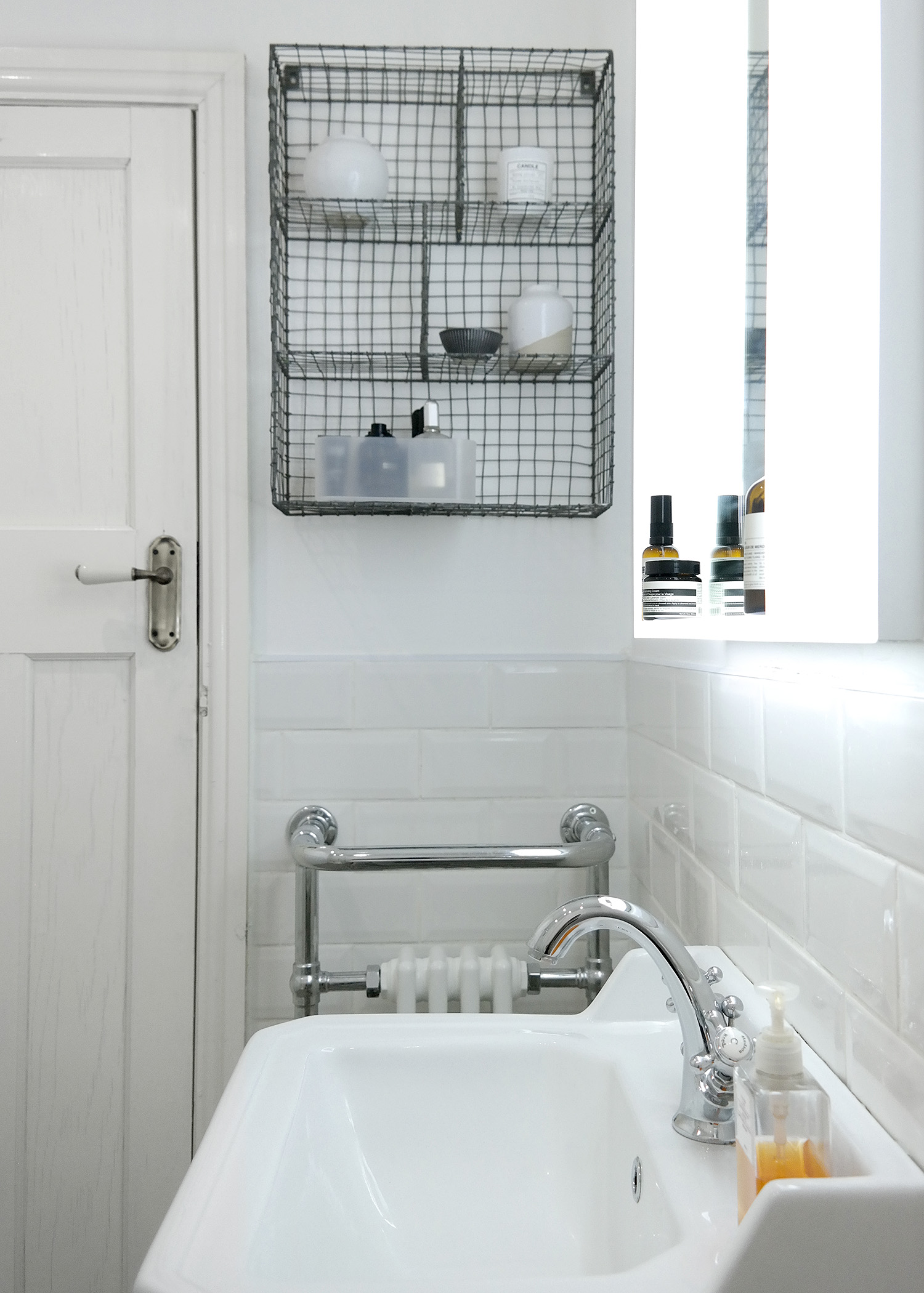 Joe's Illuminated Bathroom Mirror & Wire Locker Room Shelf | Joe's Scandi-Style Vintage Bathroom - Birmingham