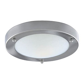 Searchlight IP44 Satin Silver Flush Fitting with Opal Glass Diffuser - 1131-31SS