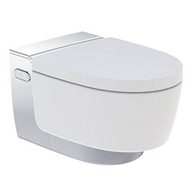 Geberit AquaClean Gloss Chrome Mera Comfort Rimless Wall Hung Shower WC