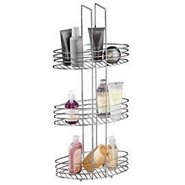 3 Tier Chrome Bathroom Storage Rack Oval Shelves - 1600531