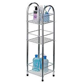 Chrome 3 Tier Bathroom Stand Small/Narrow - Freestanding - 1600730