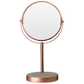 Neptune Round Swivel Bathroom Mirror - Concrete & Copper