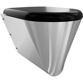 Franke Campus CMPX592B Stainless Steel Wall Hung WC Pan + Black Toilet Seat