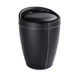 Wenko - Candy Leather Look Laundry Bin & Bathroom Stool - Black - 21774100