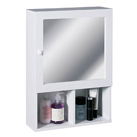 White Wood Wall Cabinet with 2 Compartments and Mirrored Door - 2401408