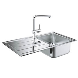 Grohe Minta Stainless Steel Kitchen Sink & Tap Bundle - 31573SD0