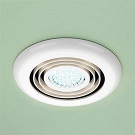 HIB Cyclone White Wet Room Inline Fan with LED Lights - Cool White - 32600