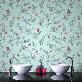 Graham & Brown - Nature Trail Duck Egg Bathroom Wallpaper - 33-002