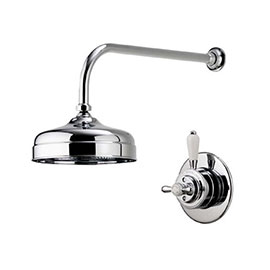 """Aqualisa - Aquatique Thermo Concealed Thermostatic Valve with 8"""" Drencher Head & Arm - Chrome - 500.00.01-580.01"""