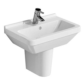 Vitra - S50 55cm Compact Basin and Half Pedestal - 1 Tap Hole