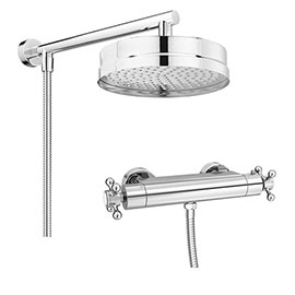 Chatsworth Traditional Crosshead Shower Bar Valve + 200mm Overhead Shower
