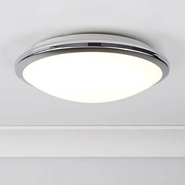 Searchlight Chrome LED Flush Light with Frosted Glass Shade - 7938-30CC