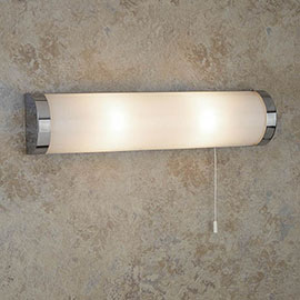 Searchlight Poplar Chrome 2 Light Wall Light with White Glass Tube - 8293CC