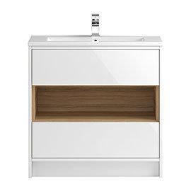 Hudson Reed Coast 800mm Floorstanding 2 Drawer Vanity Unit with Open Shelf & Basin - Gloss White/Coco Bolo
