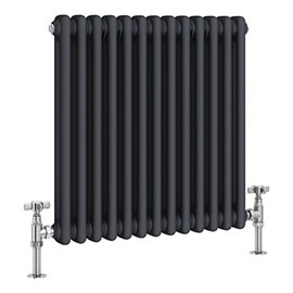 Keswick 600 x 592mm Cast Iron Style Traditional 2 Column Anthracite Radiator