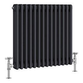 Keswick 600 x 643mm Cast Iron Style Traditional 3 Column Anthracite Radiator