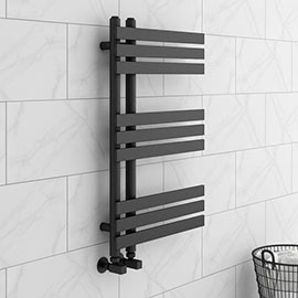 Arezzo Anthracite 800 x 500mm 9 Bars Designer Heated Towel Rail