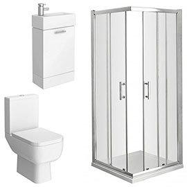 Pacific Corner Entry Shower Enclosure and En-Suite Set (2 Size Options)
