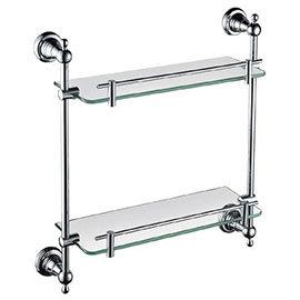 Heritage Holborn Double Glass Shelf - Chrome - AHODGSC
