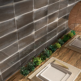 Amos Black Wood Effect Wall Tiles - 125 x 250mm