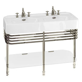 Arcade 1200mm Double Basin and Stand with Glass Shelf - Various Tap Hole Options