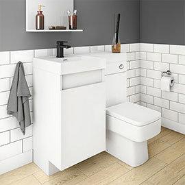 Arezzo 900mm Gloss White Combination Bathroom Suite Unit (inc. Cistern + Square Toilet)