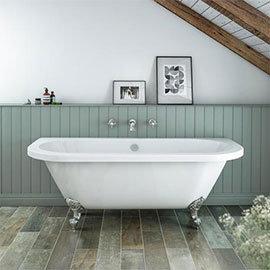 Admiral 1685 Back To Wall Roll Top Bath + Chrome Leg Set