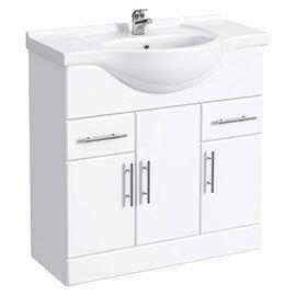 Alaska 850mm Vanity Unit (High Gloss White - Depth 330mm)