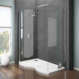 Apollo Curved 1400 x 900mm Frameless Walk-In Enclosure (Inc. Tray + Waste)