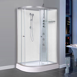 AquaLusso - Alto 04 - 1200 x 800mm Offset Shower Cabin - Polar White
