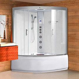 AquaLusso - Alto ST - 1350mm x 1350mm Steam and Whirlpool Corner Bath - Polar White