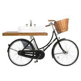 Arcade Pashley Bicycle with 600mm 3 Tap Hole Basin and Mixer Tap (shelf not included)