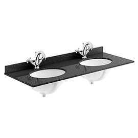 Bayswater 1200mm 1TH Black Marble Double Bowl Basin Top
