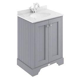 Bayswater Plummett Grey 600mm 2 Door Vanity Unit & 1TH White Marble Basin Top