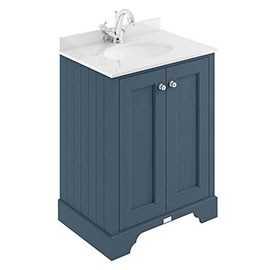 Bayswater Stiffkey Blue 600mm 2 Door Vanity Unit & 1TH White Marble Basin Top