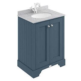 Bayswater Stiffkey Blue 600mm 2 Door Vanity Unit & 1TH Grey Marble Basin Top