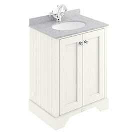 Bayswater Pointing White 600mm 2 Door Vanity Unit & 1TH Grey Marble Basin Top