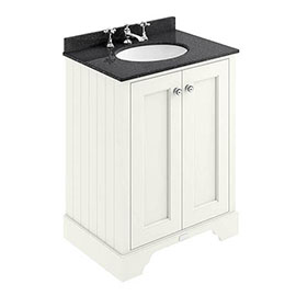 Bayswater Pointing White 600mm 2 Door Vanity Unit & 3TH Black Marble Basin Top