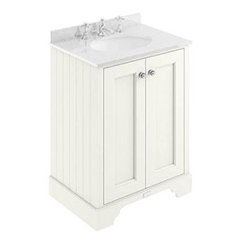 Bayswater Pointing White 600mm 2 Door Vanity Unit & 3TH White Marble Basin Top