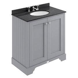 Bayswater Plummett Grey 800mm 2 Door Vanity Unit & 3TH Black Marble Basin Top