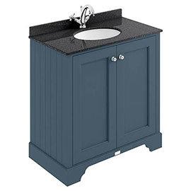 Bayswater Stiffkey Blue 800mm 2 Door Vanity Unit & 1TH Black Marble Basin Top
