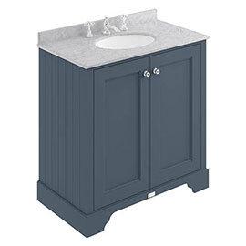 Bayswater Stiffkey Blue 800mm 2 Door Vanity Unit & 3TH Grey Marble Basin Top