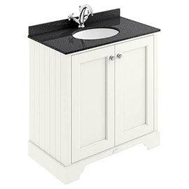 Bayswater Pointing White 800mm 2 Door Vanity Unit & 1TH Black Marble Basin Top